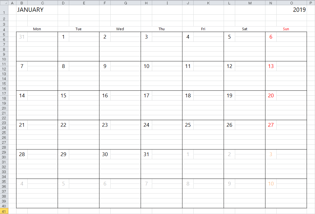 excel template for calendar